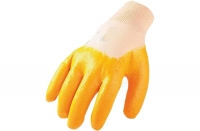 Baumwollhandschuhe mit Nitrilbeschichtung, teilbeschichtet, gelb, Größe 9